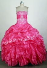 Beautiful Ball Gown Strapless Floor-length Hot Pink Quinceanera Dress Y042632