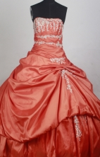 Beautiful Ball Gown Strapless Floor-length Orange Red Quincenera Dresses TD260058