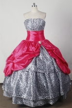 Beautiful Ball Gown Strapless Floor-length Taffeta Red Quinceanera Dress Style X042601