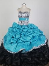 Cheap Ball Gown One Shoulder Neck Floor-length Aqua Blue Quinceanera Dress X0426062