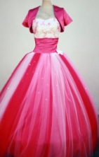 Cheap Ball Gown Strapless Floor-Length Hot Pink Beading and Appliques Quinceanera Dresses Style FA-S-246