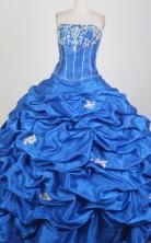 Cheap Ball Gown Strapless Floor-length Blue Quinceanera Dress X0426059