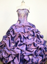 Classical Ball Gown Strapless Floor-Lengtrh Purple Appliques and Hand Flower Quinceanera Dresses Style FA-S-192