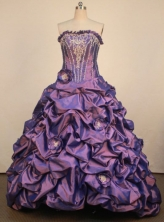 Classical Ball Gown Strapless Floor-Lengtrh Purple Quinceanera Dresses Style LJ042434