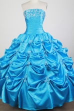 Classical Ball Gown Strapless Floor-length Baby Blue Quinceanera Dress X0426041