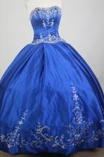 Classical Ball Gown Strapless Floor-length Blue Quinceanera Dress X0426040