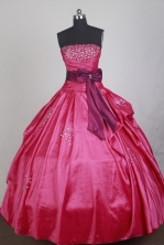 Classical Ball Gown Strapless Floor-length Red Quinceanera Dress LZ426026