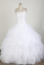 Classical Ball Gown Strapless Floor-length White Quinceanera Dress LZ426016