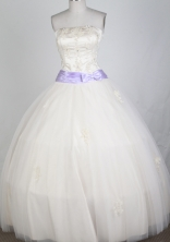 Classical Ball Gown Strapless Floor-length White Quinceanera Dress LZ426040