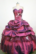 Classical Ball Gown Sweetheart Neck Floor-Lengtrh Wine Red Appliques and Beading Quinceanera Dresses Style FA-S-194