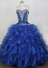 Classical Ball Gown Sweetheart Neck Floor-length Blue Quinceanera Dress LZ426083