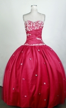 Cute Ball Gown Sweetheart Floor-length Red Quinceanera Dress Y0426013