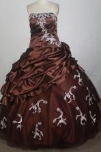 Discount Ball Gown Strapless Floor-length Burgundy Quinceanera Dress X0426033