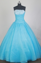 Elegant Ball Gown Strapless Floor-length Baby Blue Quinceanera Dress LZ426027