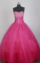 Elegant Ball Gown Strapless Floor-length Hot Pink Quinceanera Dress LZ426028