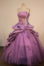 Elegant Ball Gown Strapless Floor-length Quinceanera Dresses Appliques Style FA-Z-0301
