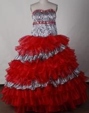 Elegant Ball Gown Strapless Floor-length Red Quinceanera Dress LJ2654