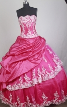 Elegant Ball Gown Strapless Floor-length Red Quinceanera Dress LZ426045