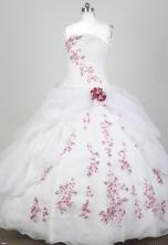 Elegant Ball Gown Strapless Floor-length White Quinceanera Dress X0426079