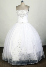 Elegant Ball Gown Strapless Floor-length White Quinceanera Dress Y042633