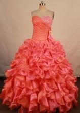 Elegant ball gown sweetheart-neck floor-length organza beading quinceanera dresses FA-X-179