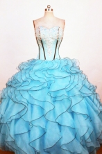 Exclusive Ball Gown Sweetheart Neck Floor-Length Light Blue Beading Quinceanera Dresses Style FA-S-216