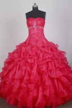 Exclusive Ball Gown Sweetheart Neck Floor-length Red Quinceanera Dress LZ426052