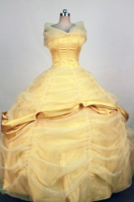 Exquisite Ball Gown Off The Shoulder Neckline Floor-Length Gold Quinceanera Dresses Style FA-S-331