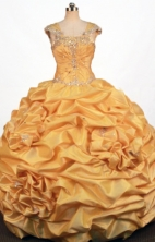 Exquisite Ball Gown Strap Floor-length Yellow Taffeta Appliques Quinceanera dress Style FA-L-384