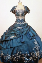 Exquisite Ball Gown Strapless Floor-Length Blue Beading and Embriodery Quinceanera Dresses Style FA-S-213