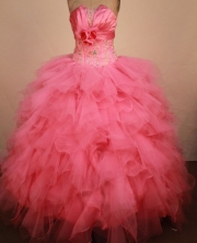 Exquisite Ball Gown Strapless Floor-Length Hot Pink Beading Quinceanera Dresses Style FA-S-259