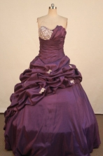 Exquisite Ball Gown Strapless Floor-Length Purple Quinceanera Dresses Style LJ02479