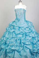 Exquisite Ball Gown Strapless Floor-length Teal Blue Quinceanera Dress X0426069