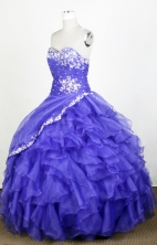 Exquisite Ball Gown Sweetheart Floor-length Blue Quinceanera Dress Y0426014