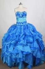 Exquisite Ball Gown Sweetheart Floor-length Blue Quinceanera Dress Y042664