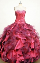 Exquisite Ball Gown Sweetheart Floor-length Red Organza Quinceanera dress Style FA-L-412