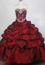Exquisite Ball Gown Sweetheart Neck Floor-length Burgundy Quinceanera Dress LZ426077