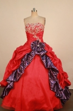 Fashionable Ball Gown Strapless Floor-Length Red Quinceanera Dresses Style FA-L042406
