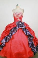 Fashionable Ball Gown Strapless Floor-Length Red Beading and Appliques Quinceanera Dresses Style FA-S-300