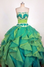 Fashionable Ball Gown Strapless Floor-Length Spring Green Beading and Appliques Quinceanera Dresses Style FA-S-272