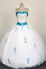 Fashionable Ball Gown Strapless Floor-Length White Beading and Appliques Quinceanera Dresses Style FA-S-242