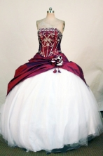Fashionable Ball Gown Strapless Floor-Length Wine Red Beading and Applqiues Quinceanera Dresses Style FA-S-307