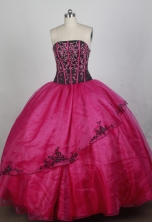 Fashionable Ball Gown Strapless Floor-length Hot Pink Quincenera Dresses TD260063