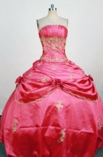 Gorgeous Ball Gown Strapless Floor-Length Red Beading and Applqiues Quinceanera Dresses Style FA-S-311