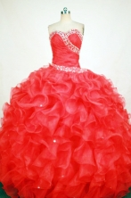 Gorgeous Ball Gown Sweetheart Floor-length Red Organza Beading Quinceanera dress Style FA-L-356