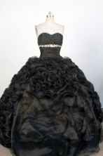 Gorgeous Ball Gown Sweetheart Neck Floor-Length Black Beading Quinceanera Dresses Style FA-S-347