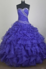 Gorgeous Ball Gown Sweetheart Neck Floor-length Blue Quinceanera Dress LZ426049