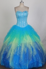 Gorgeous Ball Gown Sweetheart Neck Floor-length Blue Quinceanera Dress LZ426057