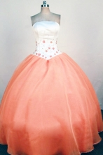 Lovely Ball Gown Strapless Floor-Length Orange Beading and Appliques Quinceanera Dresses Style FA-S-243