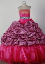 Lovely Ball Gown Strapless Floor-length Red Quinceanera Dress X042609